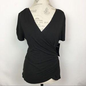 Karen Kane | Black S/S Romantic Wrap Blouse Large